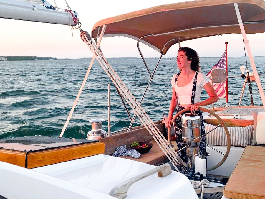 Captain Liz sailing into the sunset.