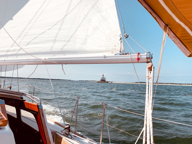 Bug Light appearing beneath a sail